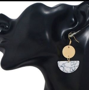 Jewelry - Gold White Stone Marble Design Earrings